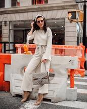 pants,wide-leg pants,high waisted pants,ankle boots,gucci bag,knitwear,sweater