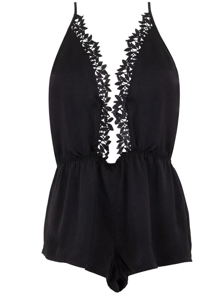 BLUEBELLA Erin Satin Romper W/lace in black
