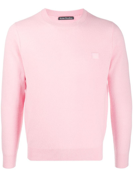 Acne Studios wool face patch jumper in pink