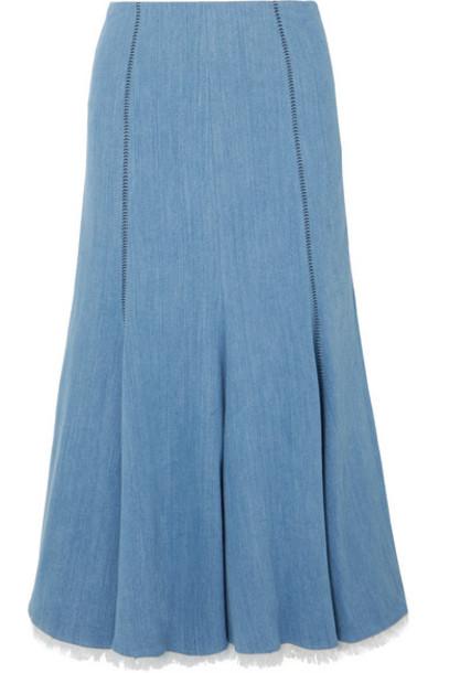 Gabriela Hearst - Amy Frayed Fluted Stretch-denim Midi Skirt - Mid denim