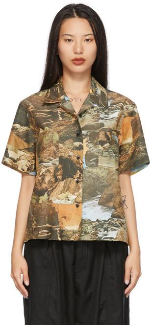 YMC Green Vegas Short Sleeve Shirt in multi
