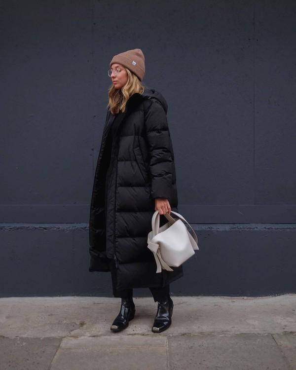coat black jacket puffer jacket patent boots black boots black pants white bag acne studios beanie
