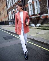 jacket,pink blazer,double breasted,black boots,white jeans,white t-shirt,dior bag,streetwear