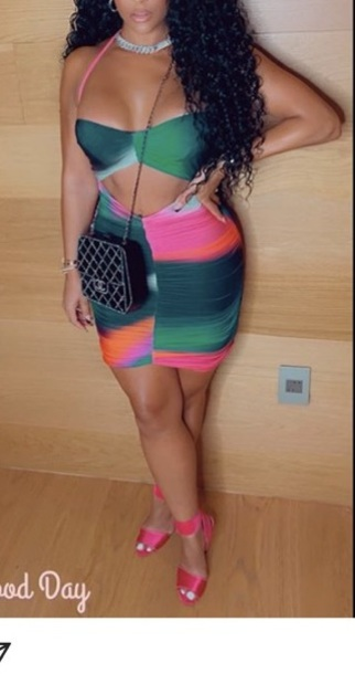 dress green multicolor cut-out