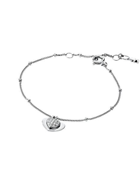 Michael Kors Kors Love Sterling Silver Pavé Heart Bracelet