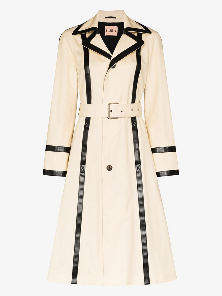 Plan C contrast trim belted trench coat in neutrals