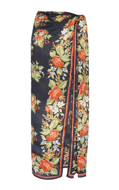 Paco Rabanne Floral-Print Satin Sarong Skirt in black