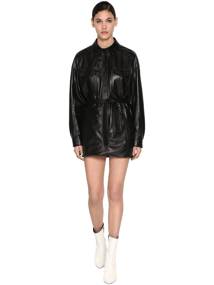 DROME Long Leather Shirt in black