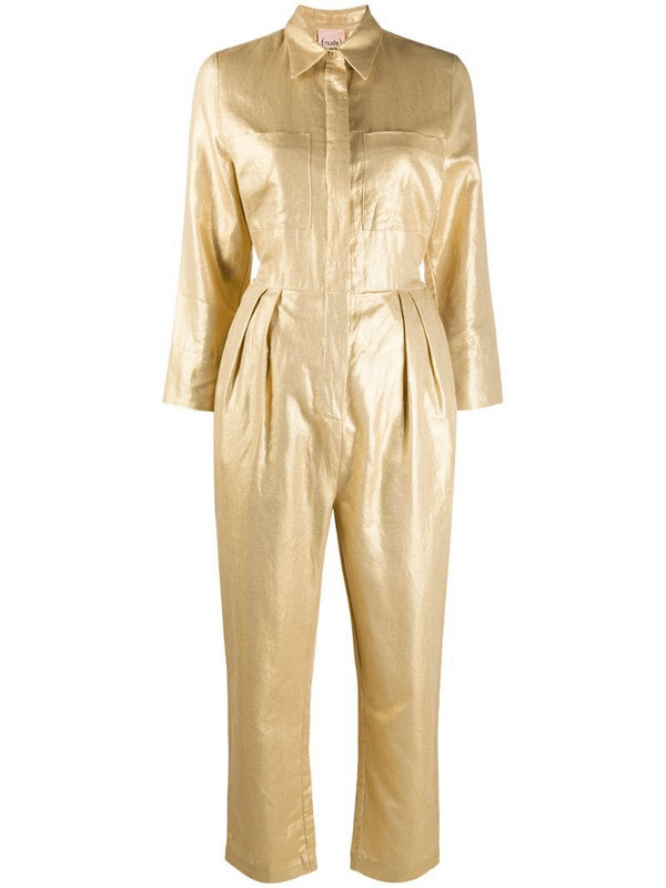 Nude straight-leg jumpsuit in gold