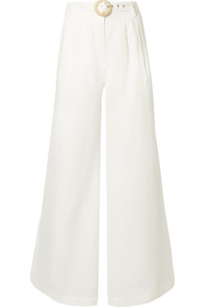 Zimmermann - Honour Belted Linen Wide-leg Pants - Ivory
