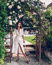 dress,white dress,midi dress,long sleeve dress,embroidered,slide shoes,chanel,bucket bag