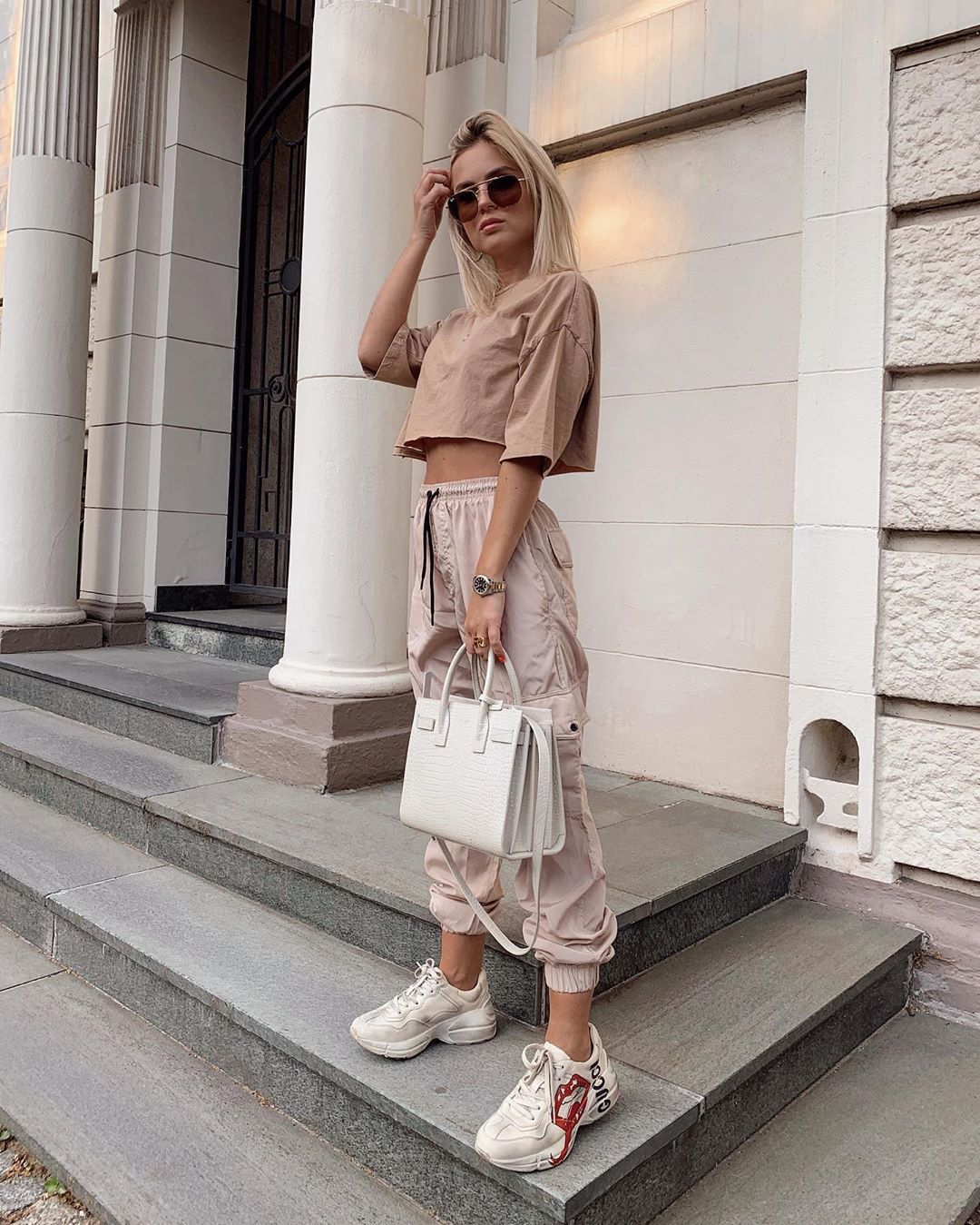 pants cargo pants high waisted pants sneakers cropped t-shirt white bag