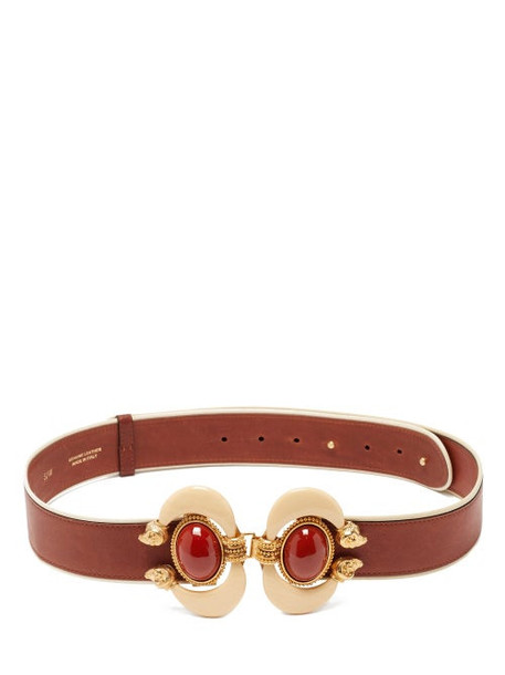Sonia Petroff - Aries Cabochon-embellished Leather Belt - Womens - Brown Multi
