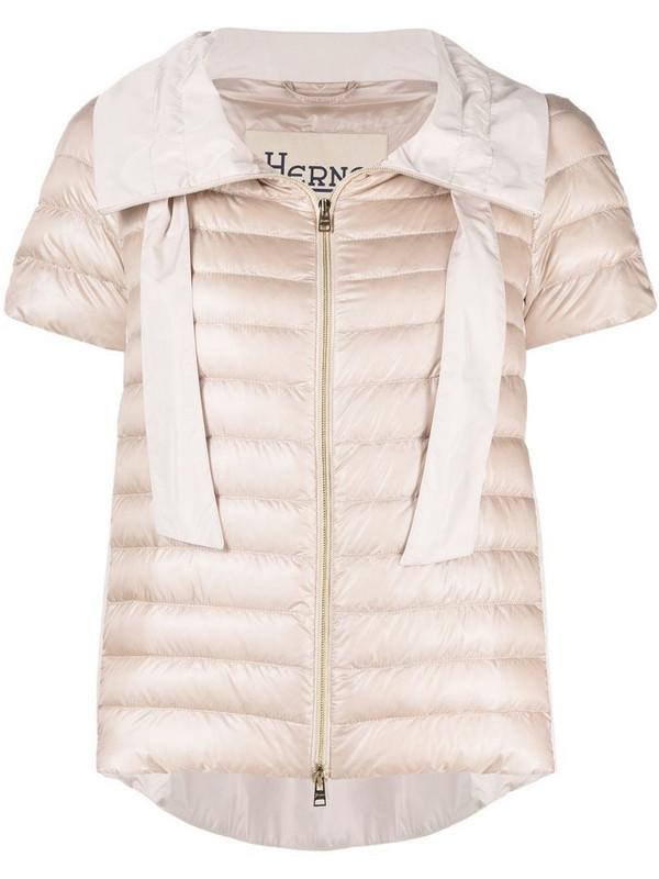 Herno short-sleeved funnel-neck puffer jacket in pink