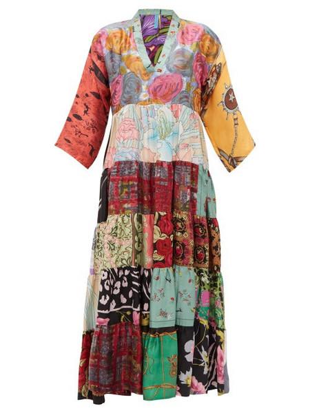 Rianna + Nina Rianna + Nina - Vintage Patchwork Print V Neck Silk Dress - Womens - Multi