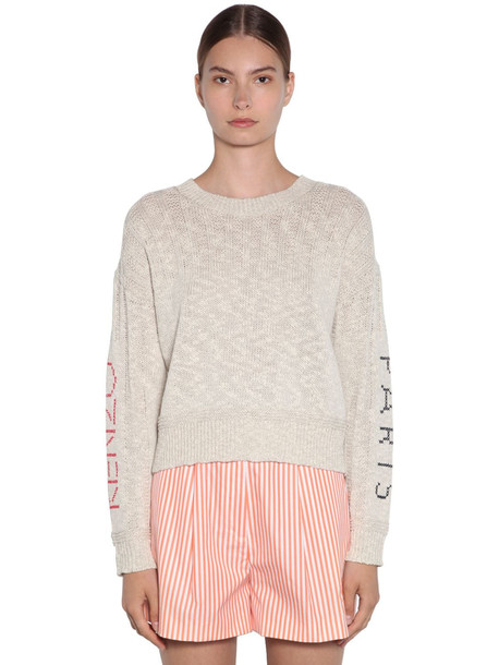 KENZO Knit Sweater W/ Embroidered Sleeves in ivory / red
