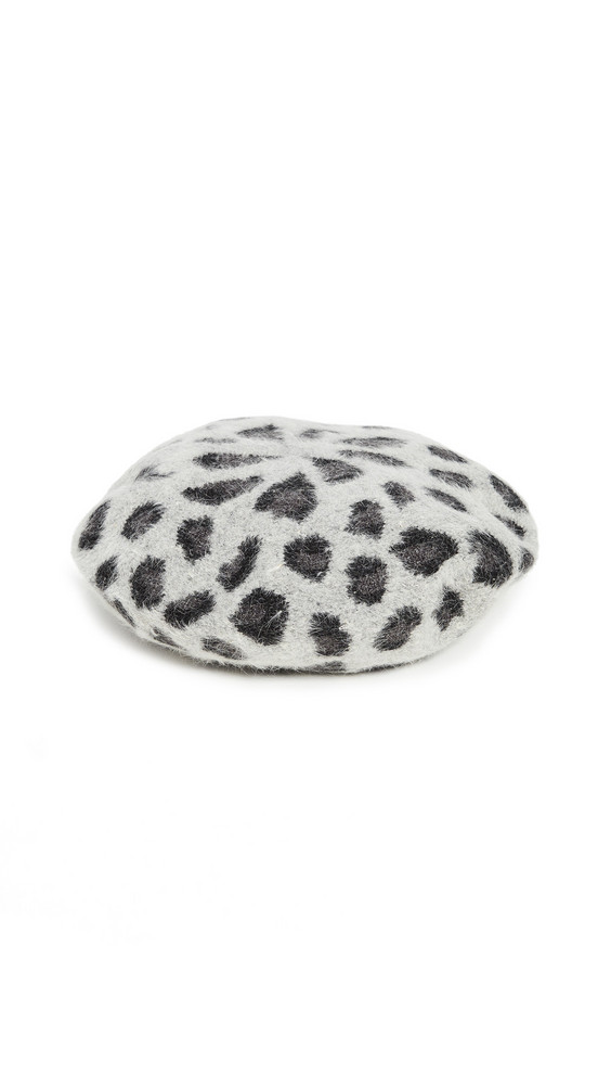 Hat Attack Knit Leopard Beret in grey