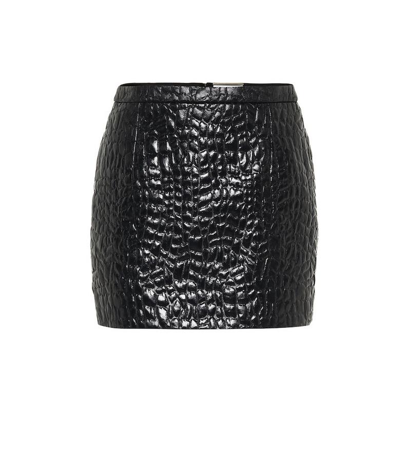 Saint Laurent Croc-effect miniskirt in black