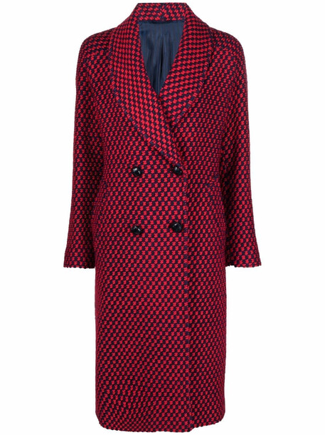 MP Massimo Piombo woven wool-blend double-breasted coat - Red