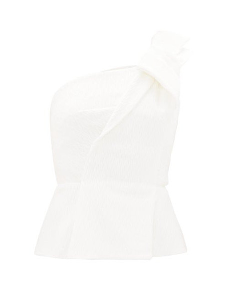 Roland Mouret - Whitefield Rippled-plissé One-shoulder Top - Womens - White