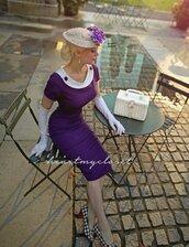 dress,purple,tight,very tight,vintage,rachel,rachel ann jensen,skintight,hobble,gloves,short sleeve,midi,heart my closet,knee length,pencil dress,neckline,1950's