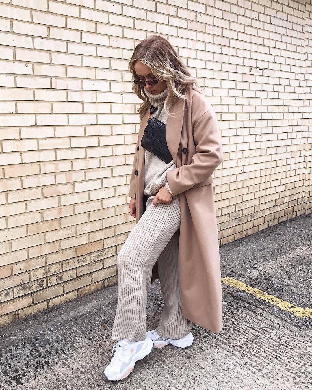 coat trench coat long coat white sneakers knit tracksuit turtleneck sweater black bag