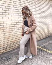 coat,trench coat,long coat,white sneakers,knit,tracksuit,turtleneck sweater,black bag