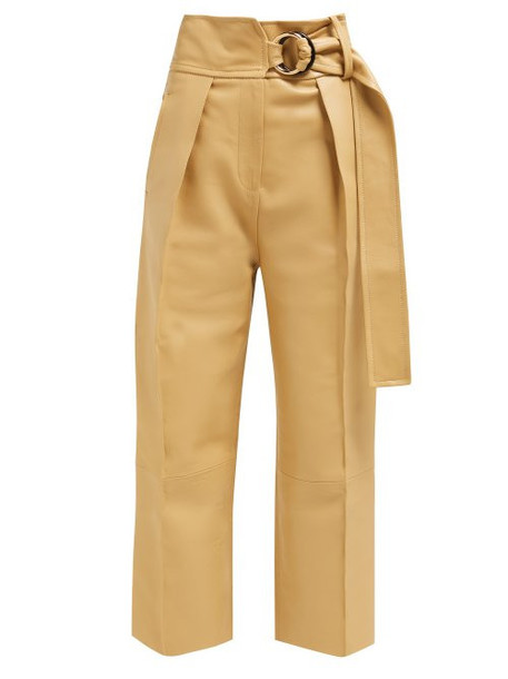Petar Petrov - Haena High Rise Panelled Leather Trousers - Womens - Beige
