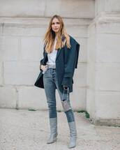 shoes,grey boots,miu miu,grey jeans,high waisted jeans,isabel marant,white top,coat,bag