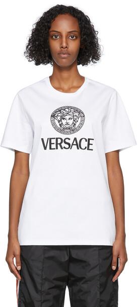 Versace White Embroidered Medusa Logo T-Shirt