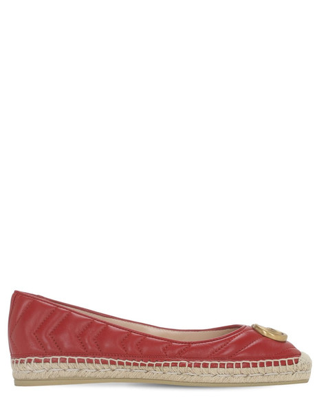 GUCCI 20mm Pilar Leather Espadrille Ballerinas in red