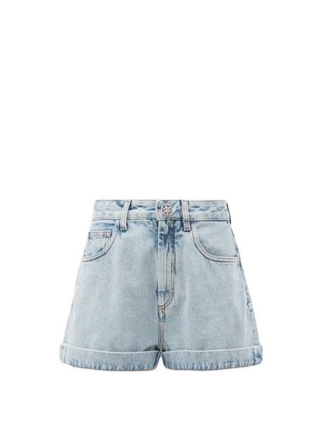 Alessandra Rich - Crystal-button High-rise Acid-washed Denim Shorts - Womens - Light Blue