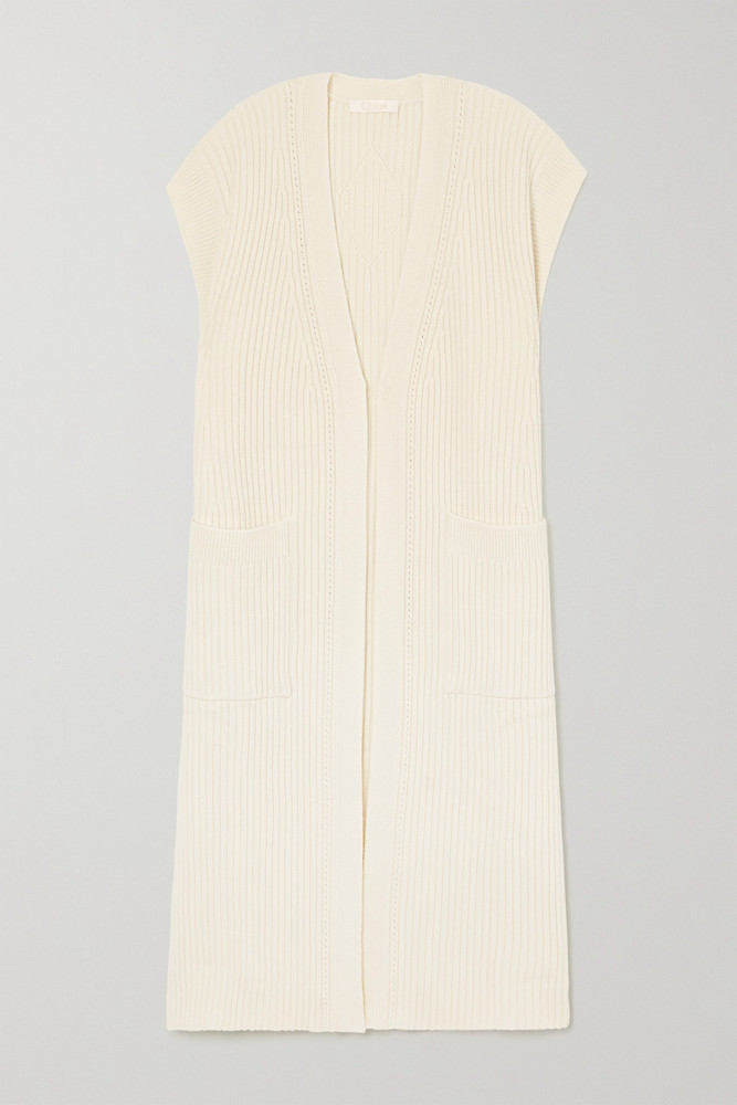 CHLOÉ CHLOÉ - Ribbed Wool And Silk-blend Cardigan - White