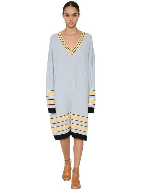 LOEWE Striped Wool Knit Sweater Dress in blue