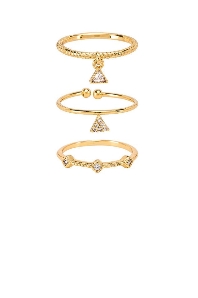 Ettika Geometric Ring Set of 3 in gold / metallic