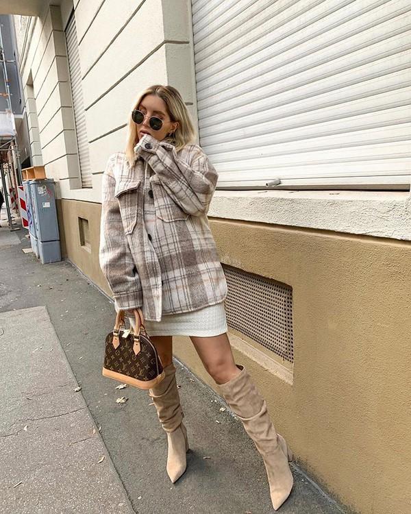 jacket plaid knee high boots suede boots louis vuitton bag white dress mini dress