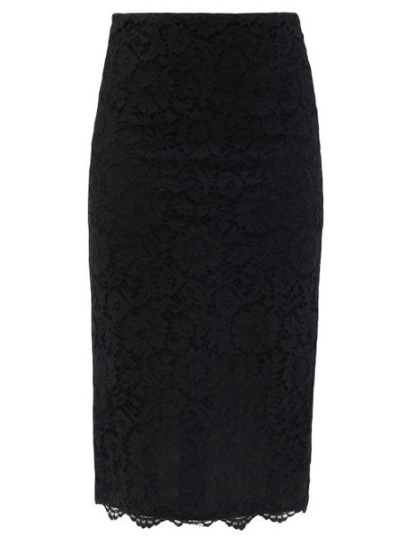 Valentino - High-rise Cordonnet-lace Pencil Skirt - Womens - Black