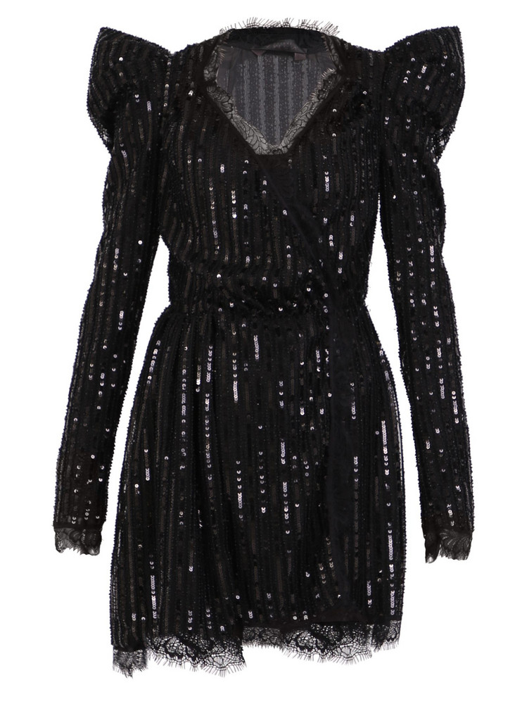Amen Sequinned Short Dress in black