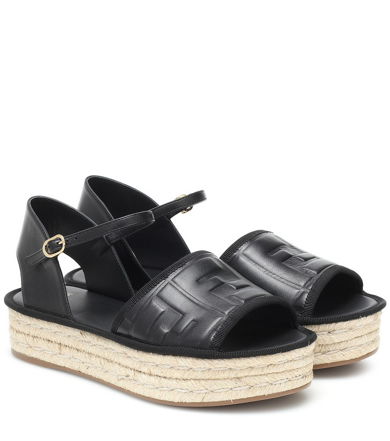 Fendi FF leather espadrille sandals in black
