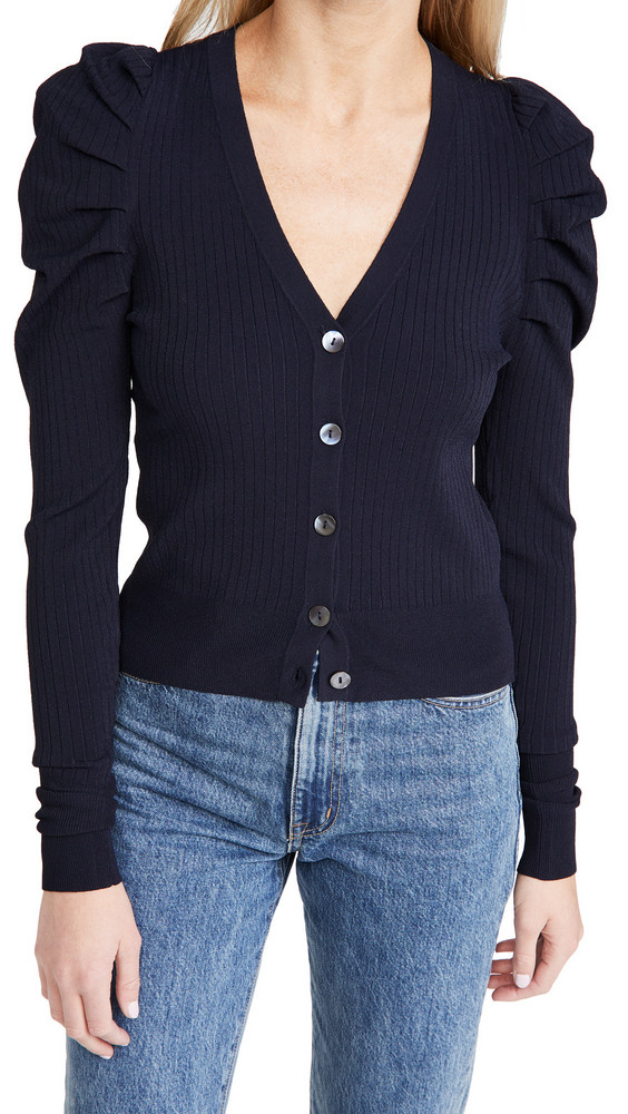 Autumn Cashmere Ribbed Puff Sleeve Cardigan in navy