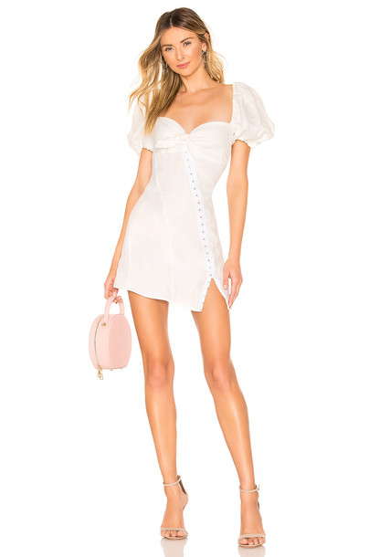 For Love & Lemons Macaroon Hook Front Mini Dress in white