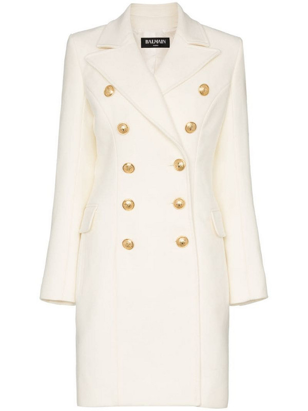 Balmain double breasted cashmere blend coat in white