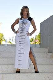 dress,slit,quote on it,long,pekan,white,portugal,isabel angelino,pekan jewels,pekan jewels party,sleeveless