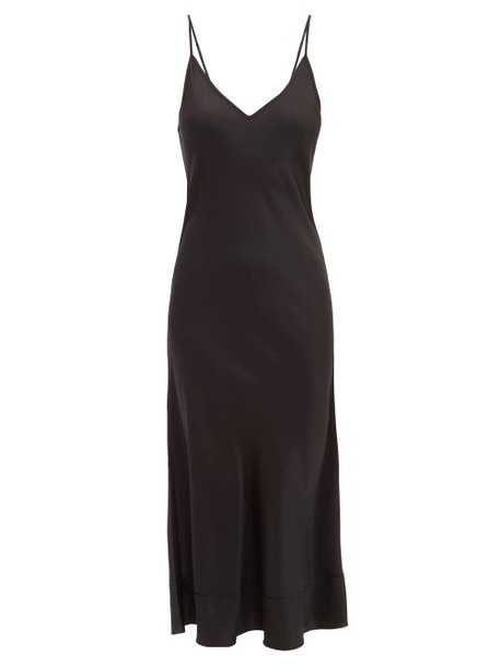 Lee Mathews - Stella Raw Edged Silk Satin Slip Dress - Womens - Black