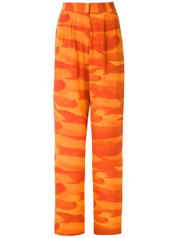 Andrea Marques Deserto silk straight trousers in orange