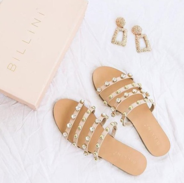 shoes slide shoes flats pearl nude straps