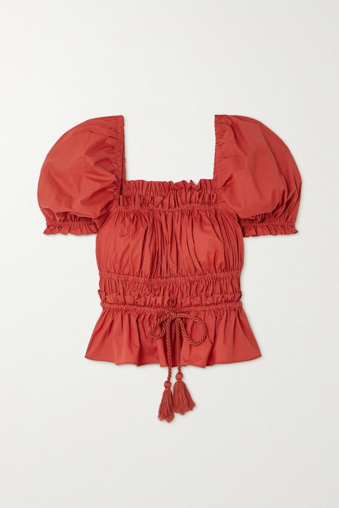 ULLA JOHNSON - Evita Tasseled Shirred Cotton-poplin Blouse - US2 in red