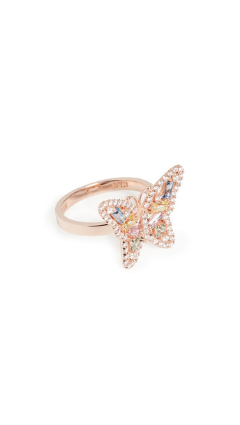 Suzanne Kalan 18k Rose Gold Pastel Fireworks Small Butterfly Ring