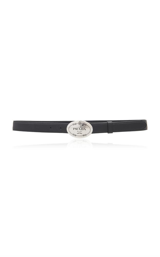 Prada Logo-Detailed Saffiano Leather Belt in black