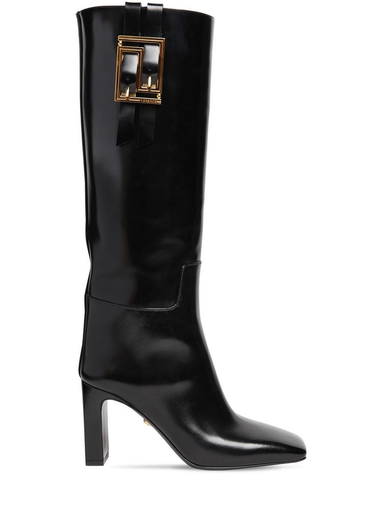 VERSACE 85mm Brushed Leather Tall Boots in black